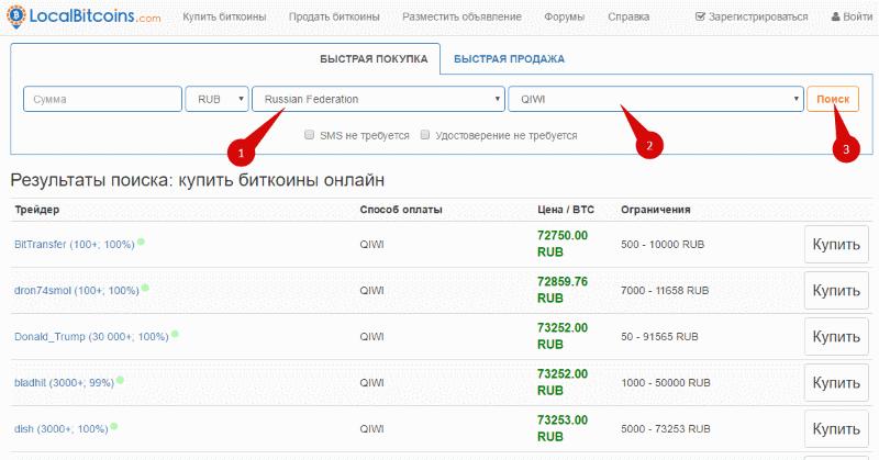 Обмен Киви на Биткоин от 1000 рублей